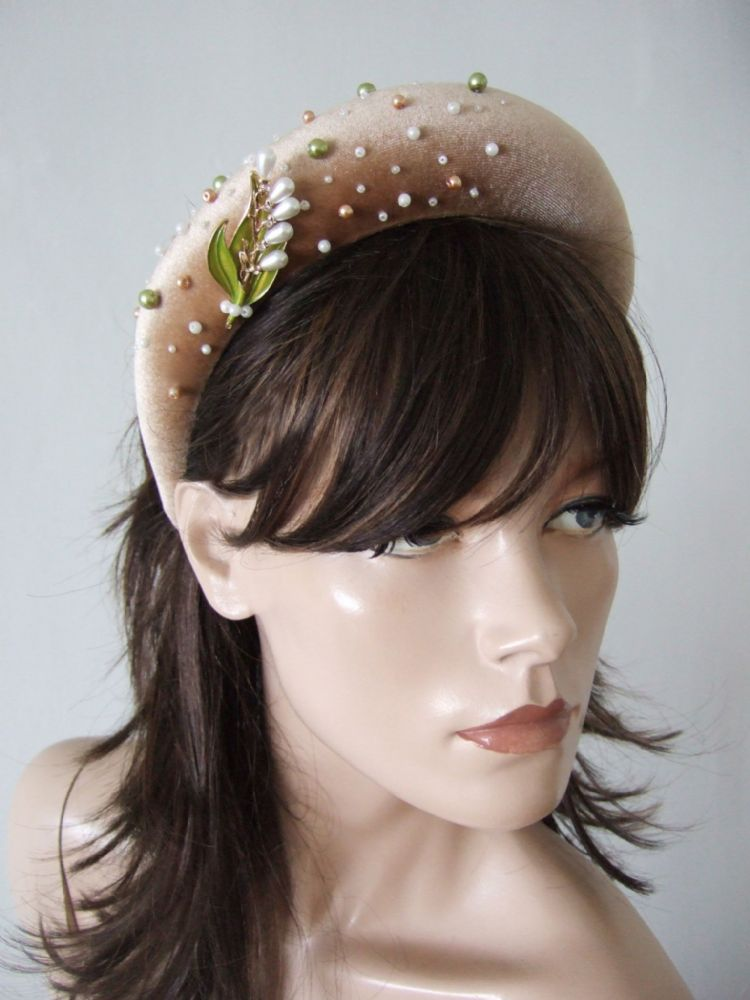 Honey Gold Velvet Thick Padded Wide Headband -Floral Pearl Beaded Embellished Wedding Accessory